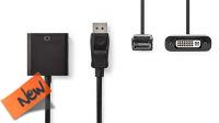Cable adaptador Displayport Macho a DVI-D 24+5p Hembra en blister 0.20m