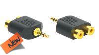 Adaptador audio dorado Jack Stereo Macho a 2x RCA hembra (5)