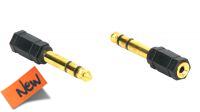 Adaptador audio dorado Jack 3.5mm Hembra a 6.35mm Macho en blister