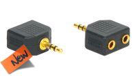 Adaptador audio dorado jack 3.5mm Stereo a 2x Jack Hembra en blister (2u.)