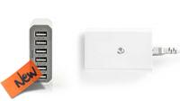 Cargador con 6 puertos USB 10A - 50W blanco