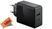 Cargador universal 110-240V 1xUSB 5V/2A, 1xUSB-C PD/3A negro