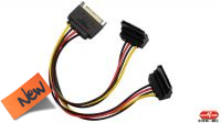 Cable interno de alimentación SATA 1 x Macho a 2 x Hembra 90º con clip 20cm