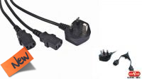 Cable de alimentación conector UK Divisor (1.6m+0.4m+0.4m) negro 2m