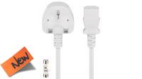 Cable de alimentación conector Reino Unido 5A Schuko C13 blanco