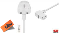 cable de alimentación conector Reino Unido 5A a CC13 angulado izquierda en blanco 1,5m