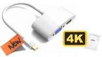 Adaptador mini DisplayPort a HDMI+VGA Full HD 1080p