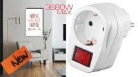 Adaptador schuko 1 x M - 1 x H con interruptor blanco