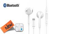 Auricular y micrófono Bluetooth con control de volumen, comp. iPhone blanco 1.2m