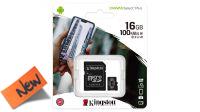Kingston Micro SDHC 16GB Class 10, 100mb/s con adaptador