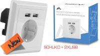 Módulo Para Embutir En Caja Superficie Con Conector Schuko + 2 x USB 2.1A Blanco
