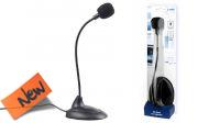 """Micrófono con base jack 3.5"""" sensible y flexible negro"""