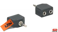 Adaptador audio stereo Jack 3.5mm Macho a 2x Jack 3.5mm hembra negro