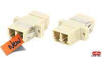 Adaptador de fibra óptica LC a LC multimodo em beige.