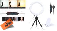 """Anillo de luz 6"""" USB para video conferencia, ordenador, con regulación intensidad y color"""