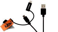 Cabo de dados/carga USB a Micro B con adaptador Lightning 08P/30P negro 1m