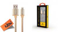 Cable de datos y carga Lightning 08P iPhone/iPad - Nylon/aluminio dorado 1.8m