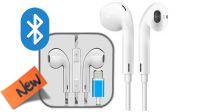 Auricular e microfone Bluetooth con control de volumen, comp. iPhone blanco 1.2m