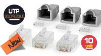 Kit de 10 conectores RJ45 con protectores para cable FTP gris