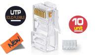 Conector RJ 45 Cat. 6 UTP flexible con guía (10)