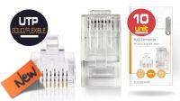 Conector RJ45 Cat6 UTP para cable sólido chapado en Oro  (10u) Certificado.