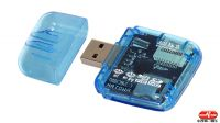 Lector de tarjetas USB 2.0 All in One azul transparente